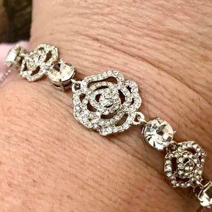 Kate Spade Silver-Tone Crystal Rose Bracelet
